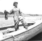 Fisherman shows off a big lobste