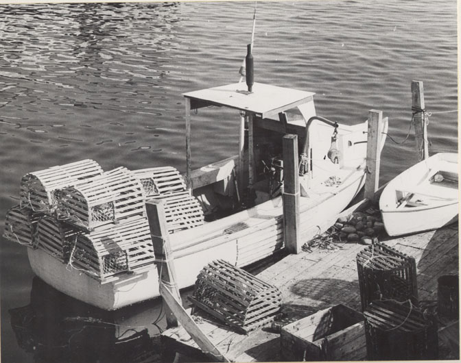 Wooden traps stacked on boat