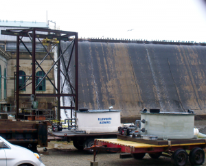A 65-foot dam on the Union River near downtown Ellsworth blocks the passage of river herring