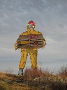 lobster man statue